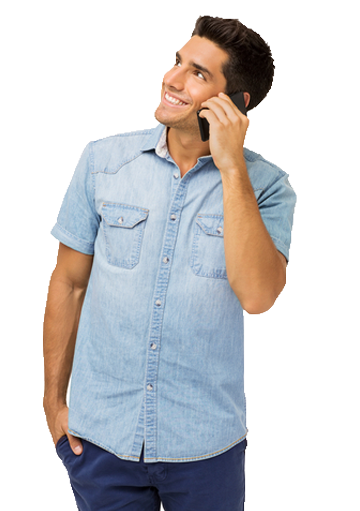 A man is calling with his smartphone