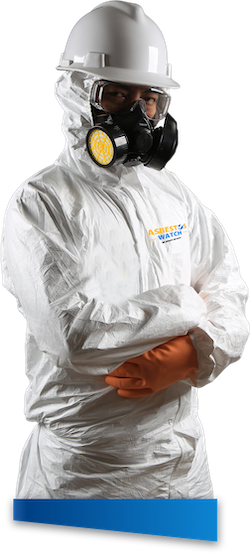 Asbestos removal technician with PPE suit