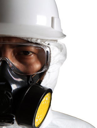 Asbestos technician with mask